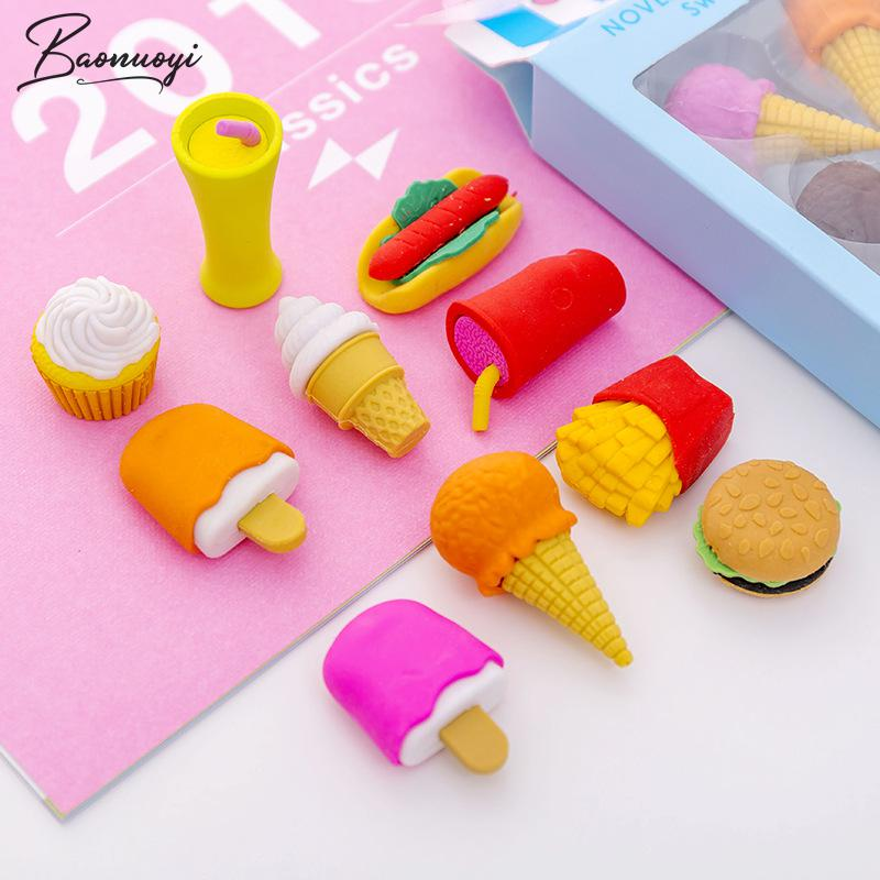 4Pcs/Set Ice Cream Pencil Erasers For Office School Creative Stationery Supplies Kawaii Kids Prize Writing Drawing Student Gift
