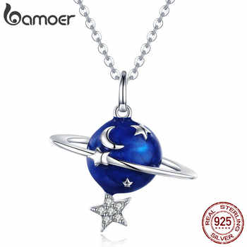 BAMOER Hot Sale 100% 925 Sterling Silver Secret Planet Moon Star Necklaces Pendants for Women Sterling Silver Jewelry BSN007 - DISCOUNT ITEM  30% OFF All Category