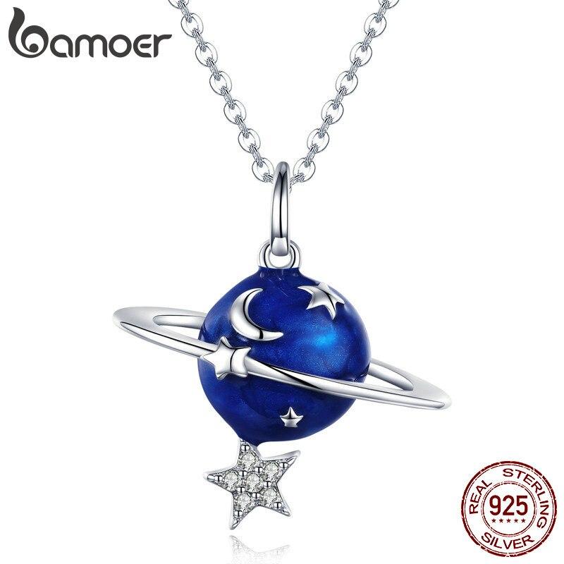 9617542ed357 BAMOER Venta caliente 100% de Plata de Ley 925 planeta secreto Luna estrella  collares colgantes para las mujeres de la joyería de la plata esterlina  BSN007