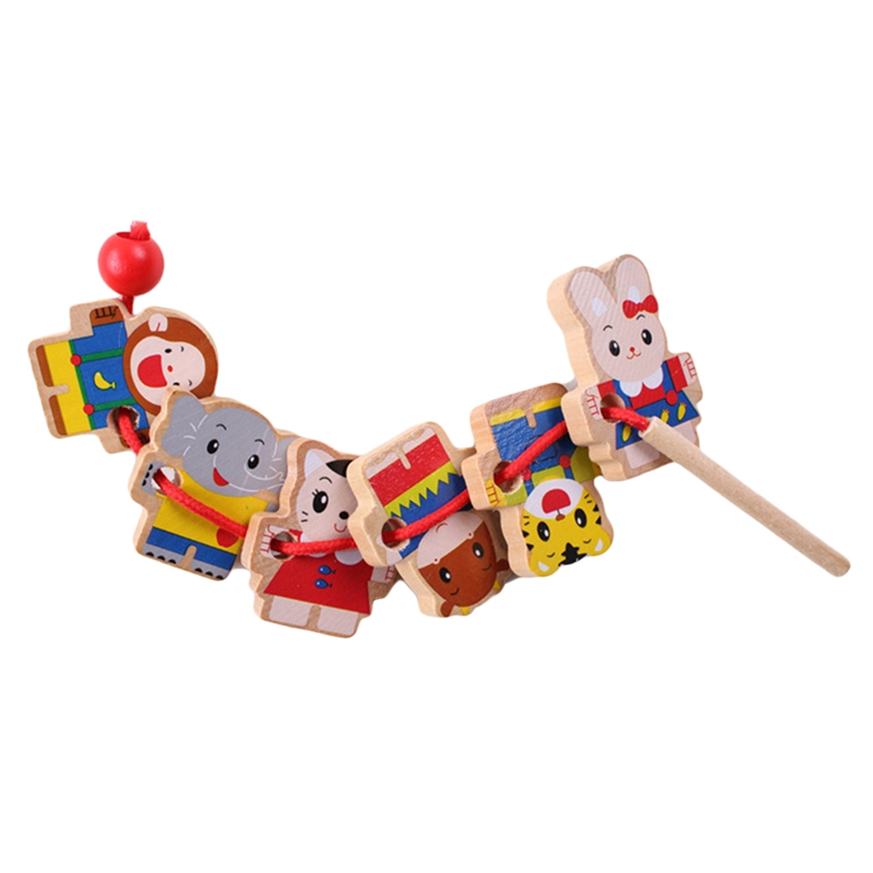 FBIL-Wooden Toys Diy Toy Cartoon Animal Threading Wooden Beads Toy Montessori Educational For Kids