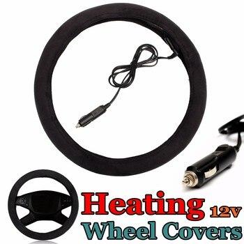 Funda de dirección Universal de alta calidad de 38cm y 12V, enchufe para el mechero del coche, cubiertas de volante eléctricas calentadas, calentador para el invierno