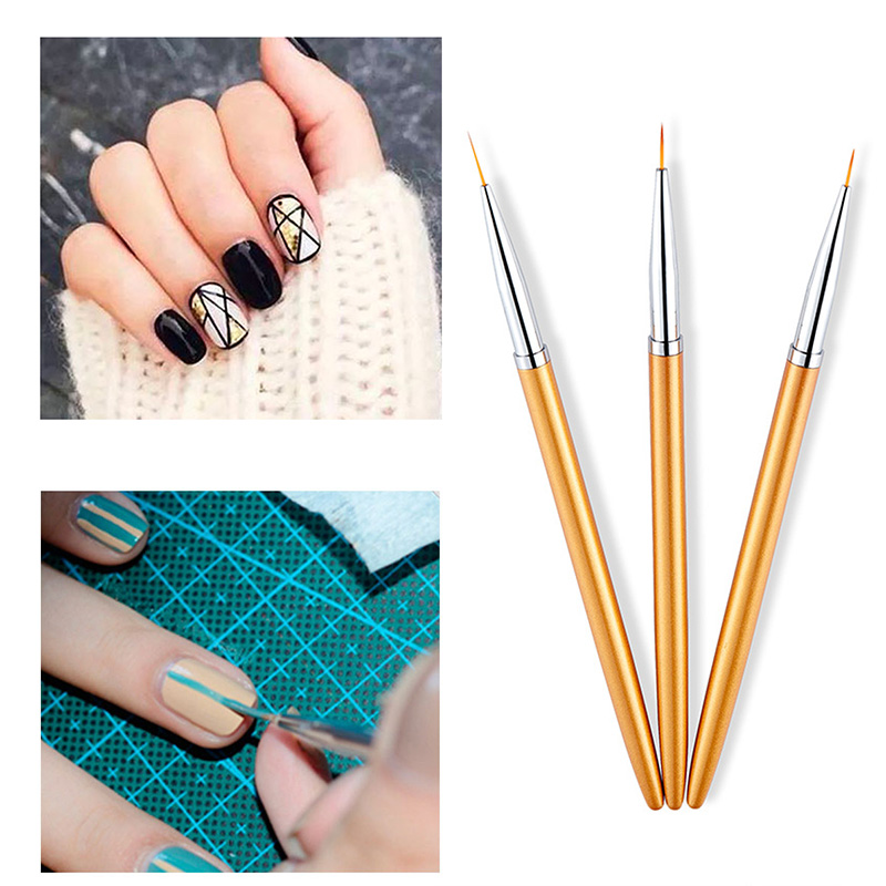 3Pcs/Set Gold Nylon Paint Brushes Different Size Watercolor Gouache Nail Brush Pen Set For Artist School Office Art Supplies