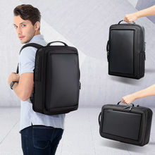 Smart Business Backpack for Men 15.6 Inch Leather Computer Notebook Backpack Male Black Anti Theft Back Pack Men Mochila usb(China)
