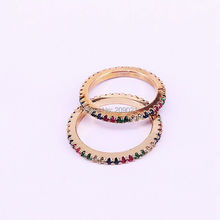 10Pcs Skinny Rainbow Personality Bright Fashion Women Jewelry Pave Colorful Zircons Simple delicate Rings