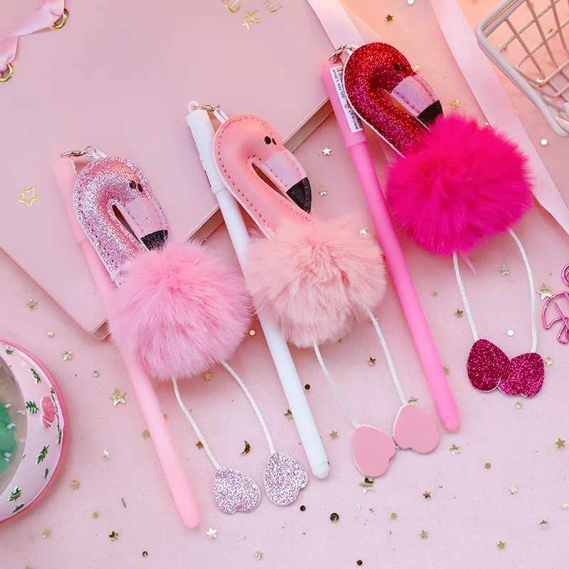 1pc 0.38mm Kawaii Flamingo Gel Pens Cute Colorful Plush Ink Pen Creative Writing Gift Office School Stationary Supplies 40093