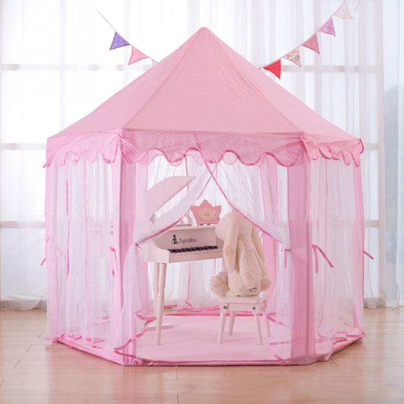 Children Hexagonal Princess Tents Matching Velvet Pad Baby