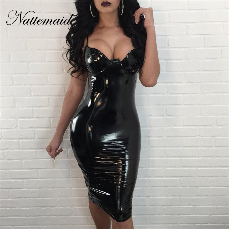 NATTEMAID Women Black Sexy Bodycon Leather Dress Sexy Zipper Latex Club Wear Clothing Mini Dress Catsuits Cat Suits Vestidos