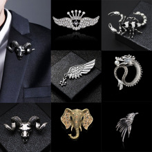 i-Remiel British Style Fashion Retro Brooch Pin for Men Hawk Wing Crown Rudder Elk Owl Leaf Badge Suit Shirt Collar Accessories