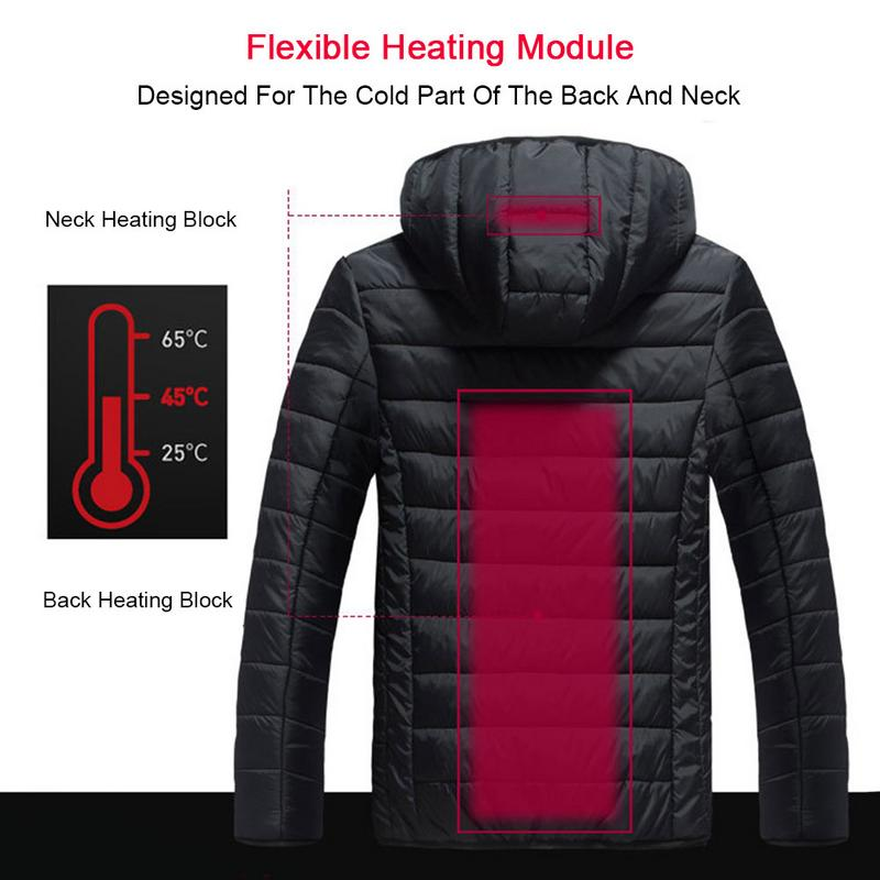 Men's Winter Usb Heated Jacket Outdoor Hiking Winter Body Warm Jacket Electric Heating Hooded Warm Heating Coat Clothes