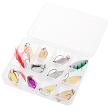 12PCS/Lot Artificial Spoon Lures Hard Bait Spinner Trout Bait Multicolor Fishing Tackle Bait Fishing Lure Swimbait With Box стоимость