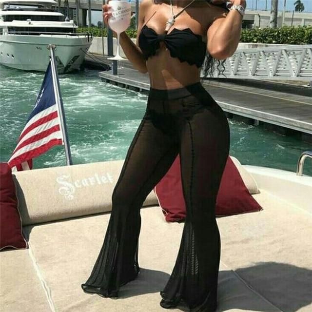 Женское пляжное покрытие, новое Сетчатое Прозрачное Бикини, купальный костюм с оборками, расклешенные брюки с высокой талией, прозрачные штаны, пляжная одежда