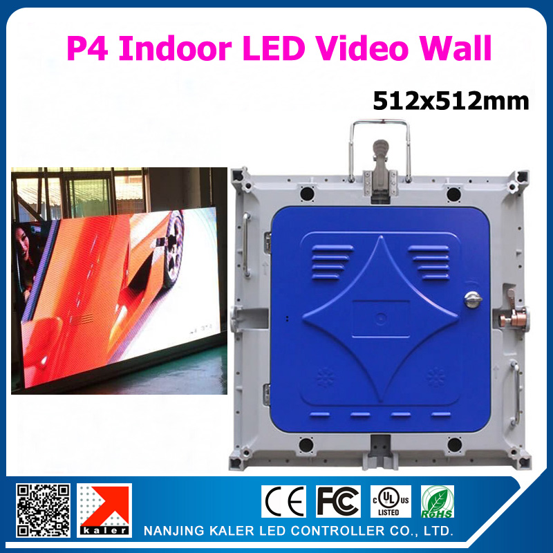 Kaler Indoor Rental Led Video Wall P4 Rental Die-cast Aluminum Cabinet 512x512mm With One Receiving Card In It
