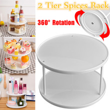 360 Degree Rotating 2 Tier Spices Fruit Tray Turning Table Cake Rack Hold Organizer Home Kitchen Storage Rack Stand Basket