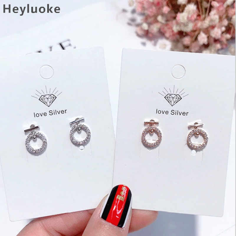 Mewah Colorful Korea Fashion Nyata Murni 925 Sterling Silver Perhiasan Batu Cubic Zirconia Anting-Anting Fashion Wanita Favorit