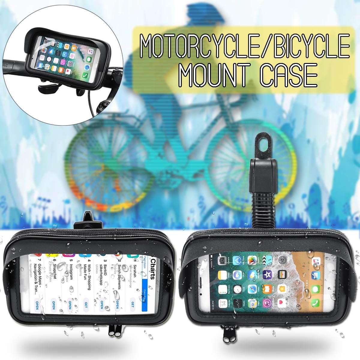 5.5/'/' Waterproof Mobile Phone Holder Motorcycle Bicycle Bike GPS Mount Case Bag