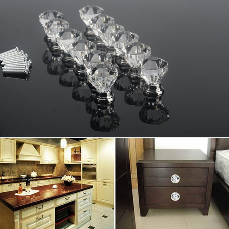 12pcs with screws Drill Acrylic Knobs Drawer Cabinet Furniture Kitchen Handle
