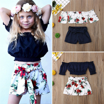 aa35c6c6b 2019 1-6Y 2 piezas niños bebé niña flor hombro Tops pantalones cortos trajes  Braga de verano 2 piezas conjunto