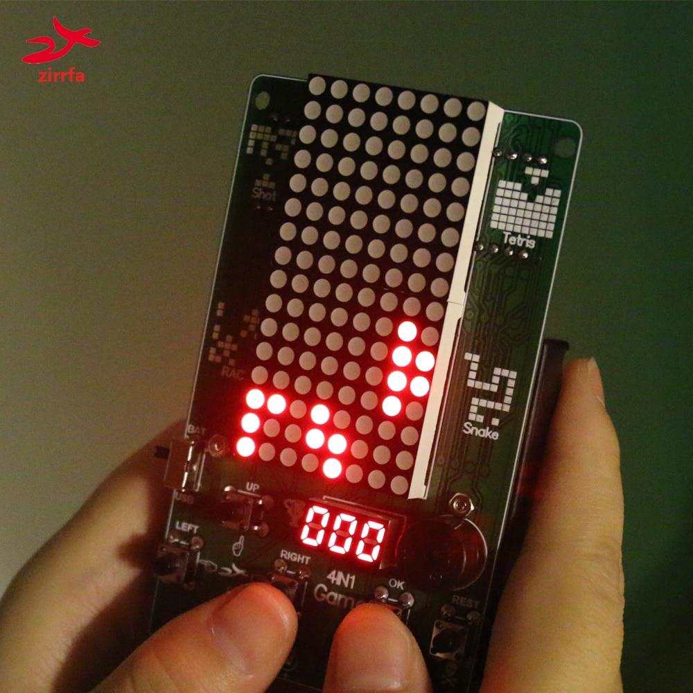 Electronic DIY Kit 8x16 Dot matrix game machine for Tetris/Snake/Shot/Racing Diy Kit Electronic(China)