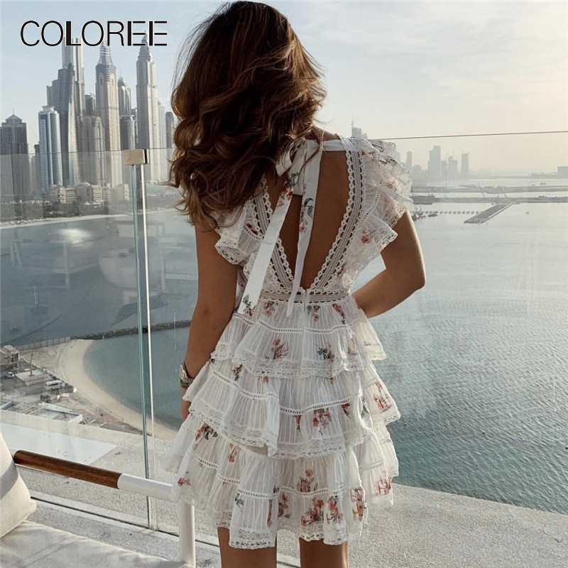 e7455def47 Elegant White Lace Floral Printed Mini Dress 2019 Women Summer Layer  Ruffles Short Party Dresses High