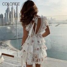 Elegant White Lace Floral Printed Mini Dress 2019 Women Summer Layer Ruffles Sho