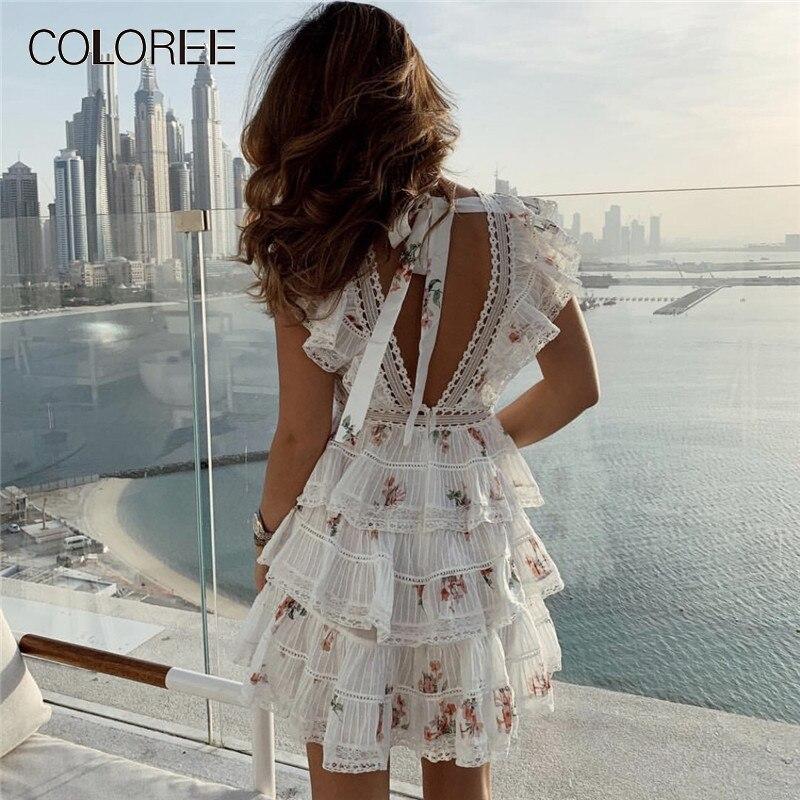 04ffcff620f1 Cheap Elegante blanco encaje Floral impreso Mini vestido 2019 mujeres capa  de verano volantes corto vestidos