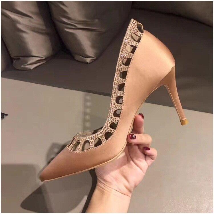 Pic Partito Fretwork Pic Alti De Cristallo Zapatos Pompe Di 2018 As Punta Da A Scarpe Femme Chaussures Cuoio Tacchi Del Mujer as Donna Ete aqOpFwS1