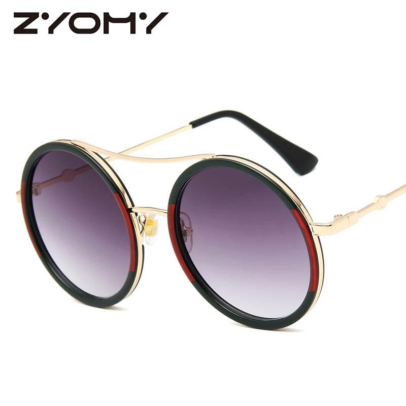Q Oculos De Sol Steampunk Vintage Round Brand Designer Retro Glasses Men Women Sunglasses Little Bee Eyewear Accessories|Women