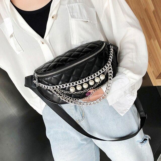 Moda Cadeia Pérola Saco Da Cintura Bloco de Fanny Mulheres À Prova D' Água Saco de Cinto de Ombro de Couro PU Fêmea Peito Bum Bag sac 6121