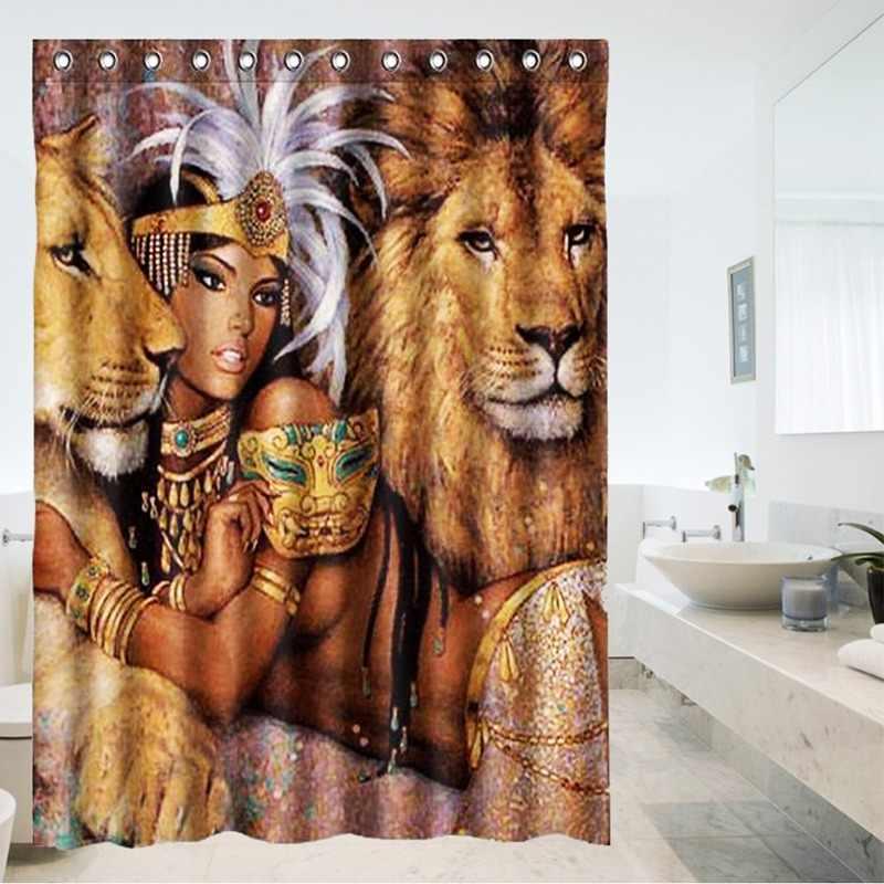 SıCAK!!! 150X180 cm Hayvanlar Güzel Afrikalı Kadın Aslanlar Ile Su Geçirmez Banyo Duş Perdesi Düğün Hediyesi Ev Dekor