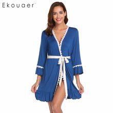 Ekouaer Mulheres Robe Sleepwear Outono Primavera Roupões de Banho Da Frente  Aberta Trumpet Lace aparado- 58ede9302