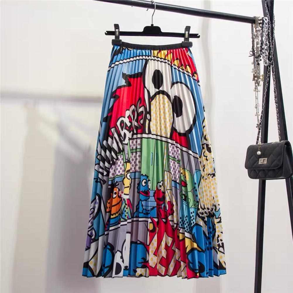 Funny Women's Cartoon Animal Pattern Long Pleated Skirts 2019 Summer Bohemian Printed High Waist Large Party Club A-Line Skirts