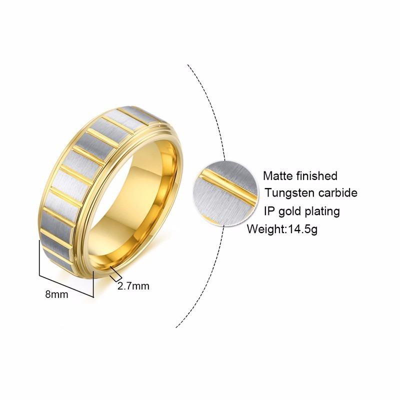 Mens Stainless Steel and IP Gold Vertical and Horizontal Link Polish Finishe...