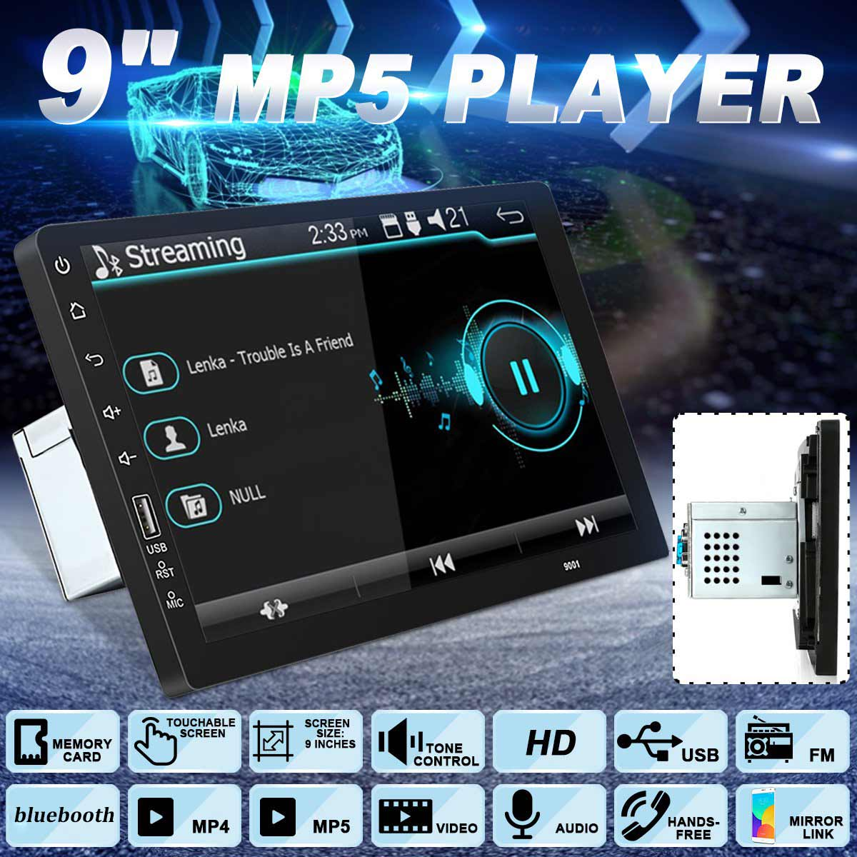 Lecteur multimédia de voiture 1Din MP5 9 ''autoradio stéréo lecteur multimédia GPS Navi universel pour TOYOTA pour Nissan pour Kia RAV4