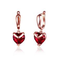 Pendientes de aro de circonia cúbica para mujer, aretes de aro redondos de oro, corazón rojo transparente, cristal de amor, joyería de aros rojos, nueva moda