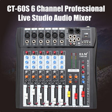 LEORY 48V 6 Channel Audio Sound Karaoke Mixer Phantom Power Controller DJ Mixing Amplifier Console USB Microphone  Professional