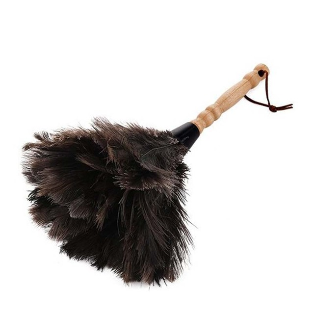 Anti-Static Ostrich Duster Feather Fur Brush Dust Cleaning Tool Wooden Handle Household Electrostatic Dust Cleaning Tool