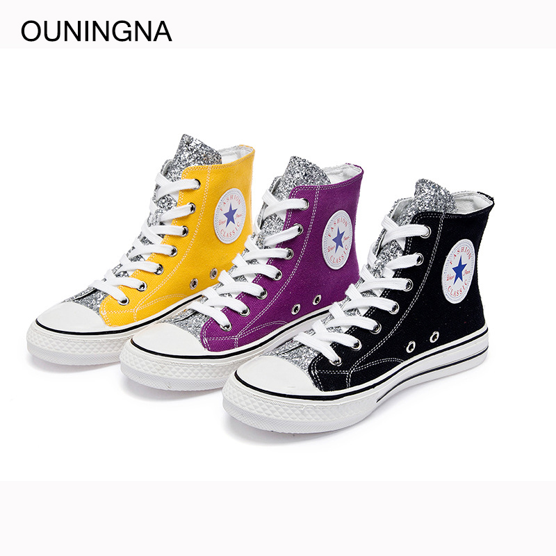 OUNINGNA 2019 summer Fashion personality bling patchwork canvas sequins casual womens shoes comfortable breathable flat shoesOUNINGNA 2019 summer Fashion personality bling patchwork canvas sequins casual womens shoes comfortable breathable flat shoes