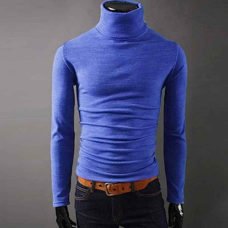 2018 새로운 가을 남성 스웨터 캐주얼 남성 터틀넥 남자의 블랙 솔리드 니트 슬림 맞는 브랜드 의류 스웨터