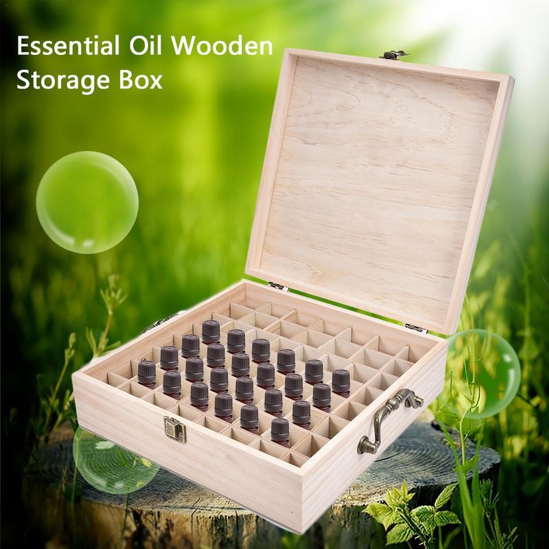 New Arrivals 62 Slot Wooden Oil Bottle Box Aromatherapy Essential Organizer Wood Storage Case