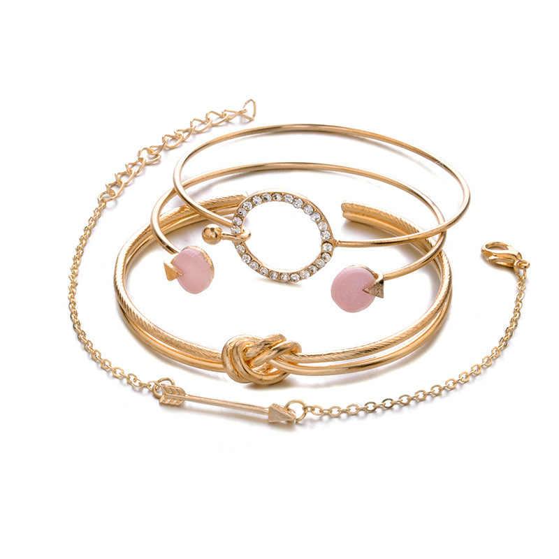 adc329a91ec1 2018 Мода браслет простые женские ювелирные изделия узел круг кристалл  стрелка ...
