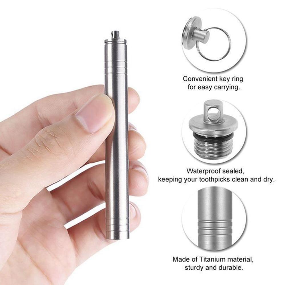 Pocket Waterproof Titanium Reusable Toothpick W// Holder Outdoor Traveling Tool
