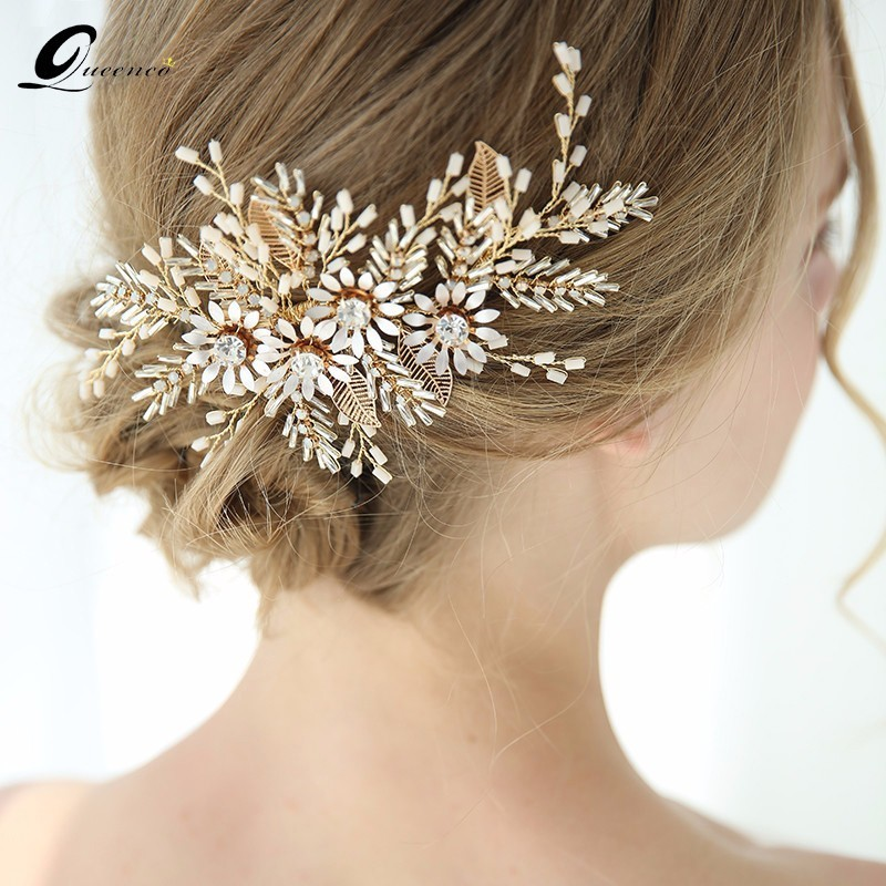Luxury Handmade Bridal Hair Accessories Gold Color Wedding Hairpins Vintage Style Women Hair Ornaments Retro Jewelry For Women