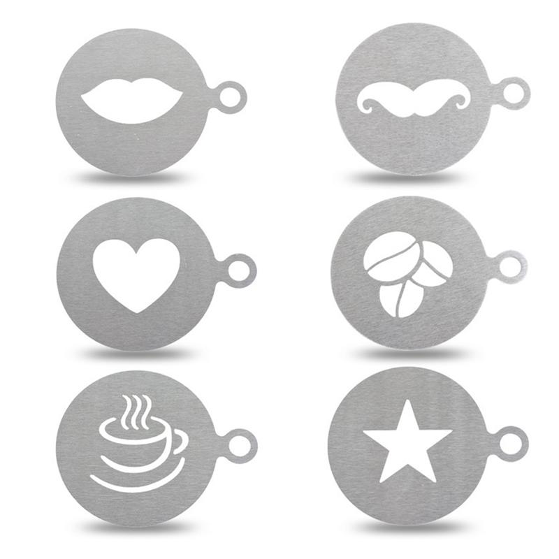 Coffee Cake Plastic Stencil Decoration Cupcake Template Mold Lifelike Cappuccino Latte Stencil Coffee Mold Cooking Tools