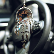 Retro dreamcatcher safe tree car hanging home  ornaments interior decoration feather crafts bronze pendant gifts