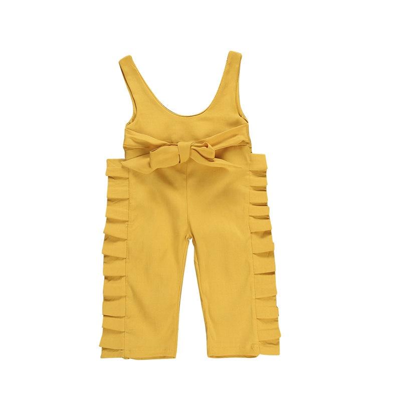 2019 Baby Girl Overalls Toddler Kid Bib Pants Summer Solid Ruffles Suspenders Baby Jumpsuit Romper Children Clothes