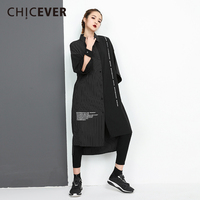 CHICEVER Spring Black Long Women Shirt Blouses Patchwork Striped Irregular Hem Loose Big Size Women's SHirts Fashion Clothing