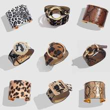Flatfoosie Fashion Leopard Print Bracelet&Bangle For Women Bohemian Leather Vintage Gold Color Wide Cuff Bracelets Jewelry Gifts(China)