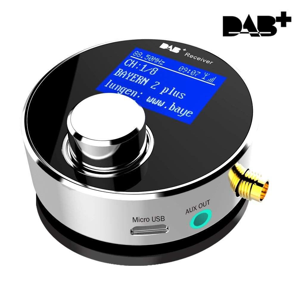 JABS double usage DAB/DAB antenne omnidirectionnelle intérieure et extérieure SMA DAB améliorée pour autoradio/système stéréo domestique, Mini P