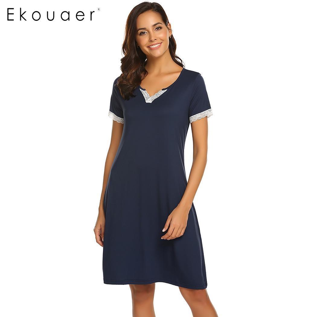 Ekouaer Women Chemise   Sleepshirts     Nightgown   V-Neck Short Sleeve Lace Trim Sleepwear Dress Spring Summer Loose Nightwear Dress