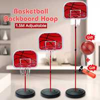 Red Basketball Hoop+Basketball+Pump 1.5m Height Adjustable Kids Mimi Basketball Hoop Rim Net Set Backboard Basket Ball 72 150cm
